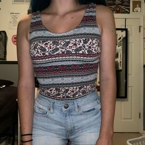 maroon red and blue patterned tank crop top
